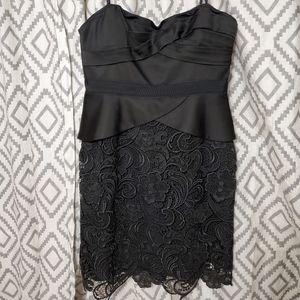 BCBGMAXAZRIA Black lace and satin strapless dress
